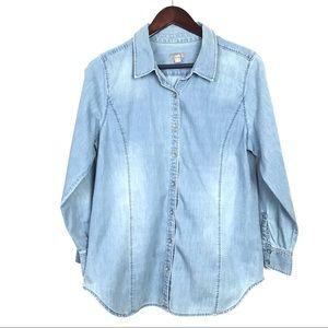 J Jill Chambray Button Down Women's Shirt Medium P